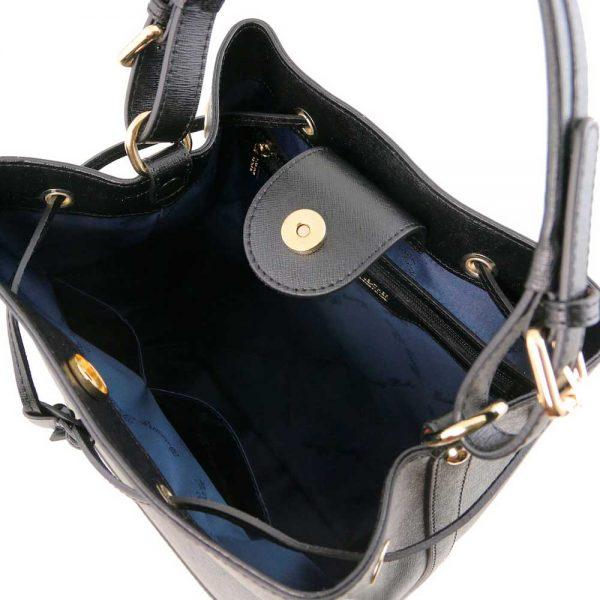Binnenkant leren damestas 'Minerva' in zwart bij ItaliaanseTassen.nl