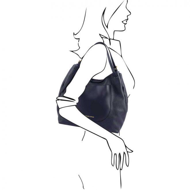leren damestas Cinzia donkerblauw schoudertas