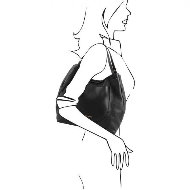leren damestas Cinzia zwart schoudertas