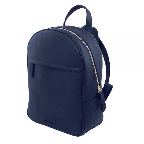 Zijkant leren dames rugzak 'TL bag' in blauw bij ItaliaanseTassen.nl