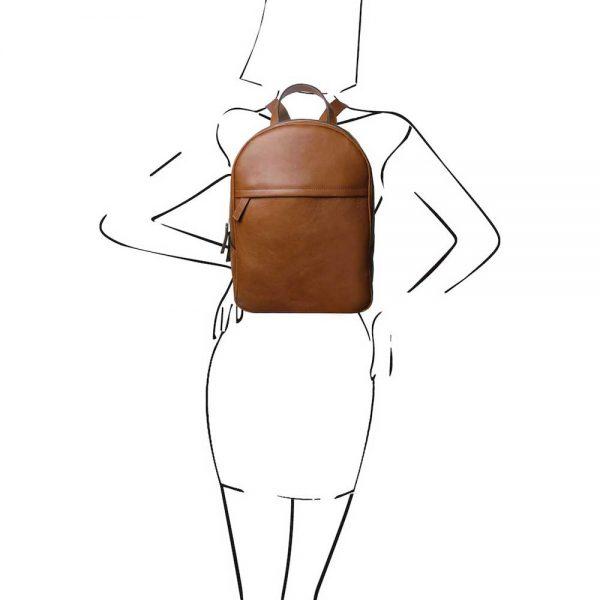 Leren dames rugzak 'TL bag' in cognac bij ItaliaanseTassen.nl