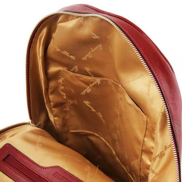 Binnenkant leren dames rugzak 'TL bag' in rood van ItaliaanseTassen.nl