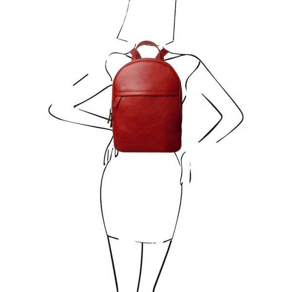 Leren dames rugzak 'TL bag' in rood van ItaliaanseTassen.nl