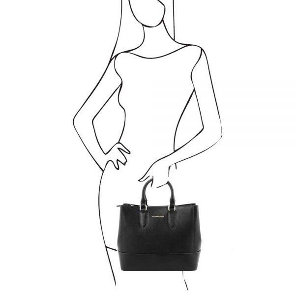 Leren damestas 'TL bag' in zwart bij ItaliaanseTassen.nl