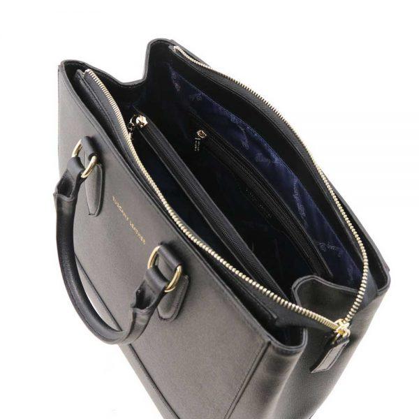 Binnenkant leren damestas 'TL bag' in zwart bij ItaliaanseTassen.nl