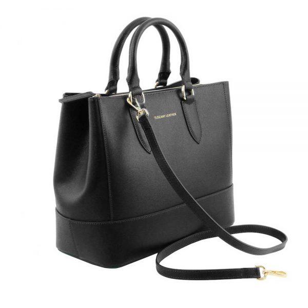 Zijkant leren damestas 'TL bag' in zwart bij ItaliaanseTassen.nl