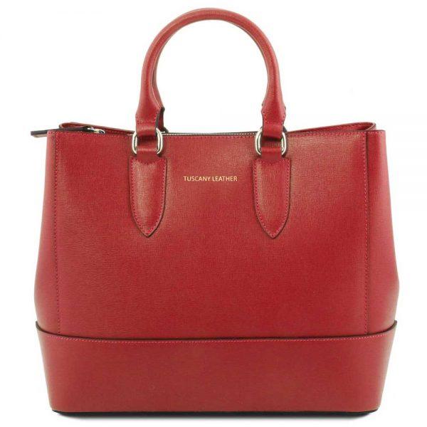 Leren damestas 'TL bag' in Toscaans rood bij ItaliaanseTassen.nl