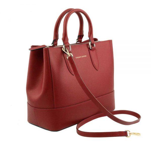 Zijkant leren damestas 'TL bag' in rood bij ItaliaanseTassen.nl