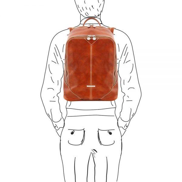 Cognac kleurige leren rugzak en schoudertas heren 'Mumbai' bij Italiaansetassen.nl