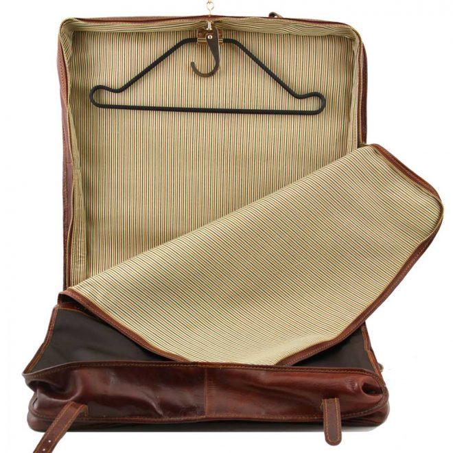 leren kledinghoes Papeete bruin binnenvoering