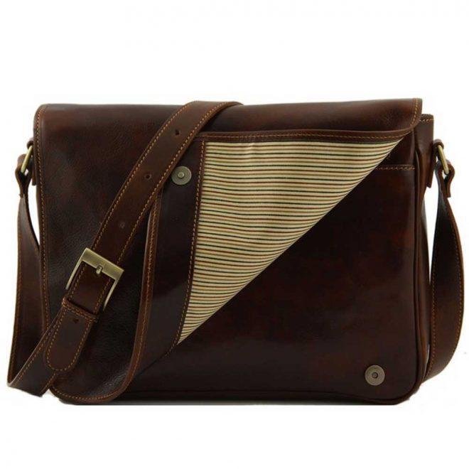 leren messenger tas bruin flap aan de voorkant