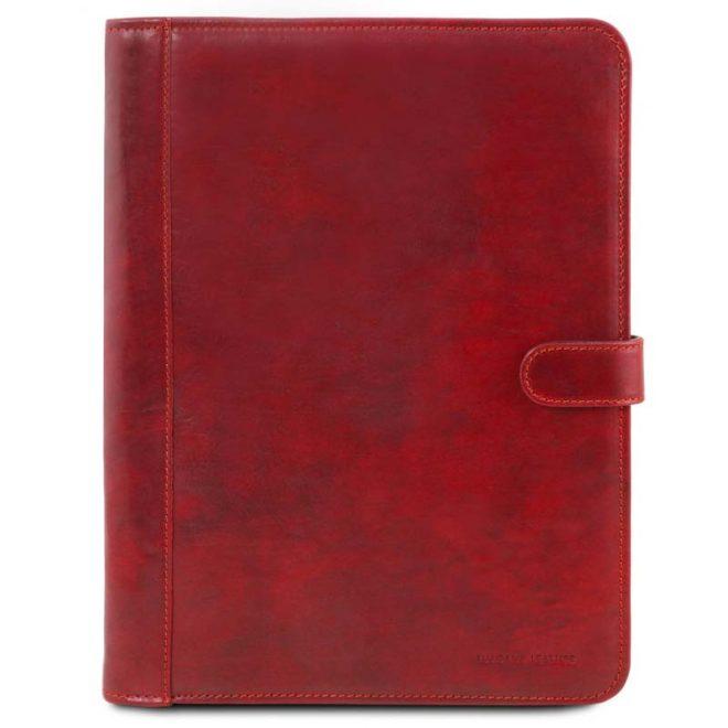 a4 leren schrijfmap Adriano rood voorkant