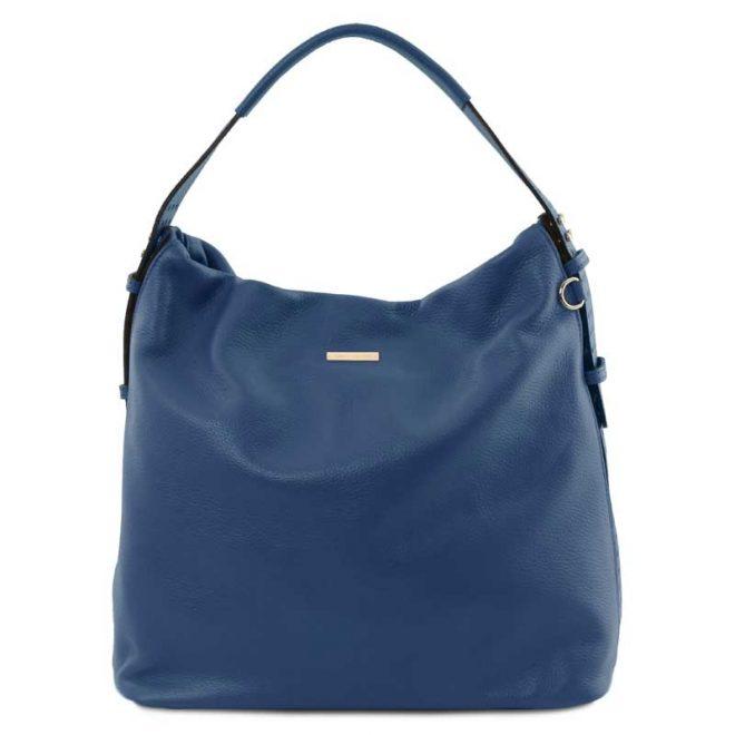 leren damestas tl bag 84 blauw voorkant
