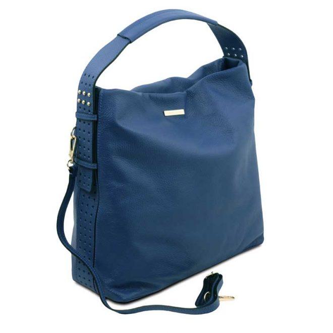 leren damestas tl bag 84 blauw zijkant