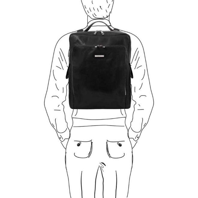 leren rugzak Bangkok XL zwart op de rug