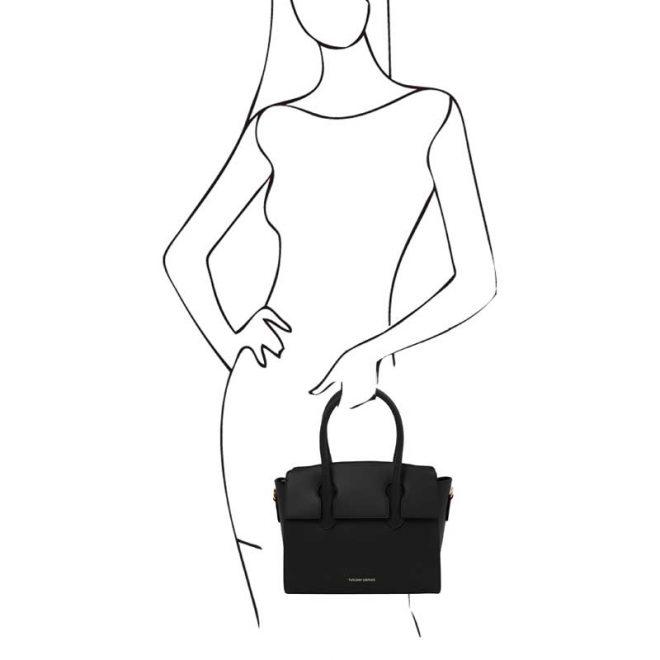 leren damestas tl bag 43 zwart handvatten
