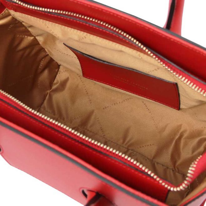 leren damestas tl bag 43 rood binnenkant