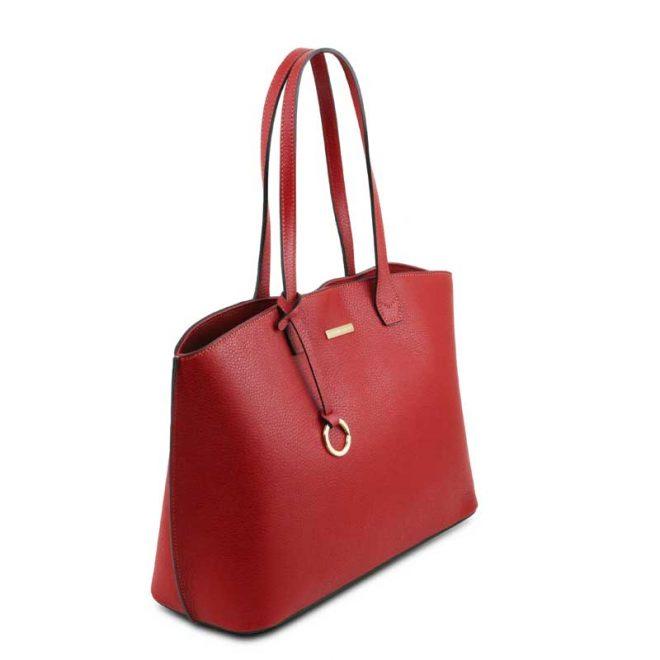leren damestas tl bag 28 rood zijkant