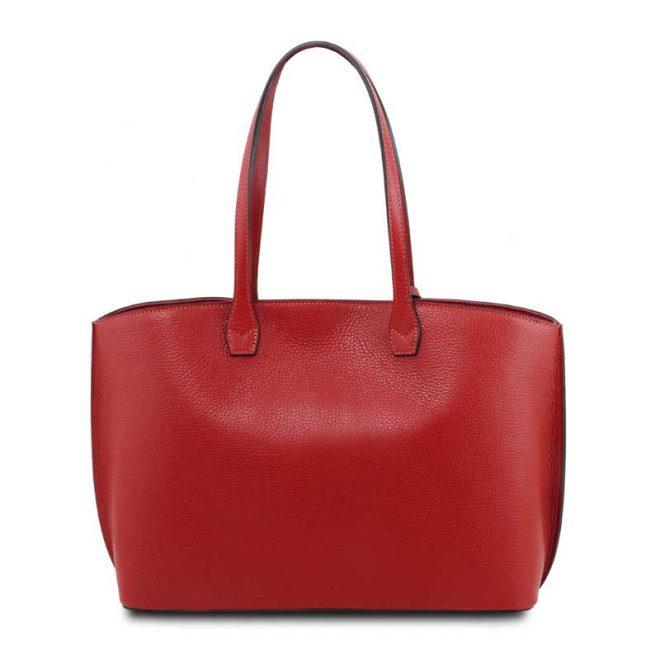 leren damestas tl bag 28 rood achterkant