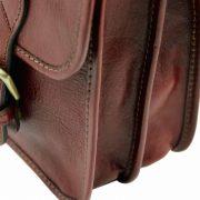leren messenger bag tl Postman bruin zijkant