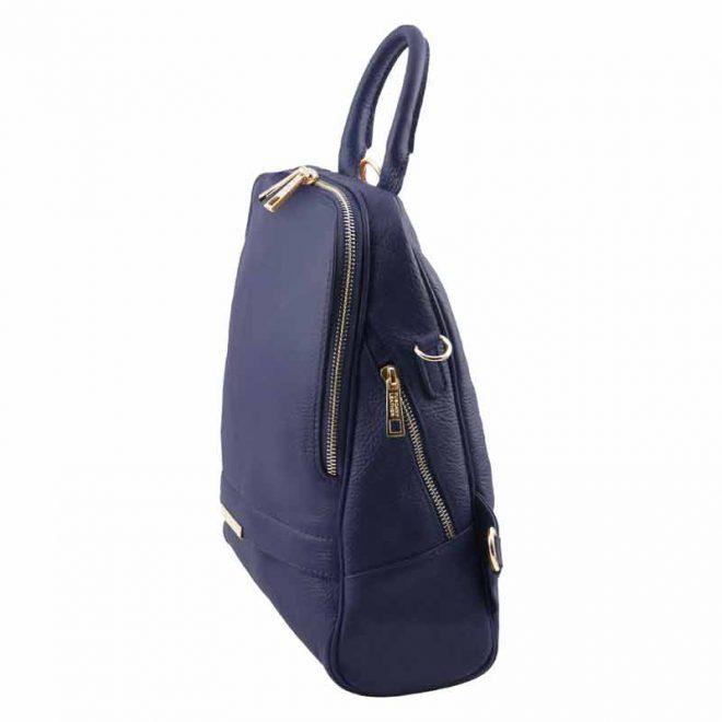 leren rugzak dames tl bag 76 donkerblauw zijkant