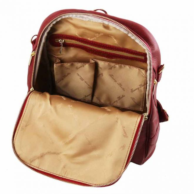 leren rugzak dames tl bag 76 rood binnenkant