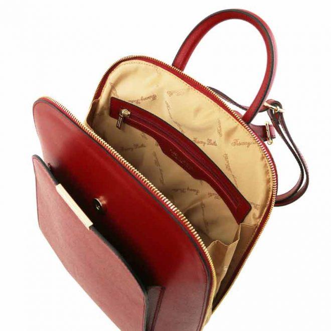 leren rugzak dames tl bag 31 rood binnenkant