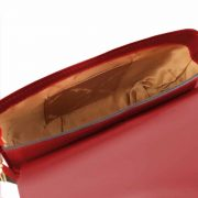 leren schoudertas Nausica rood binnenkant