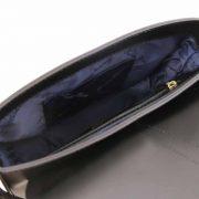 leren schoudertas Nausica zwart binnenkant