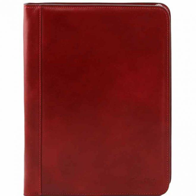 a4 leren schrijfmap Ottavio rood voorkant