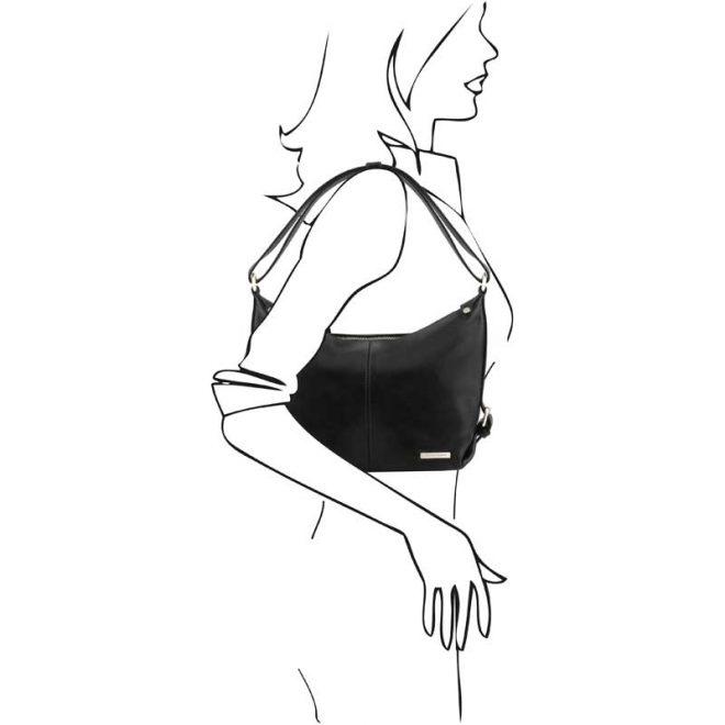 leren damestas Sabrina zwart schoudertas