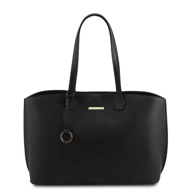 leren damestas tl bag 28 zwart voorkant