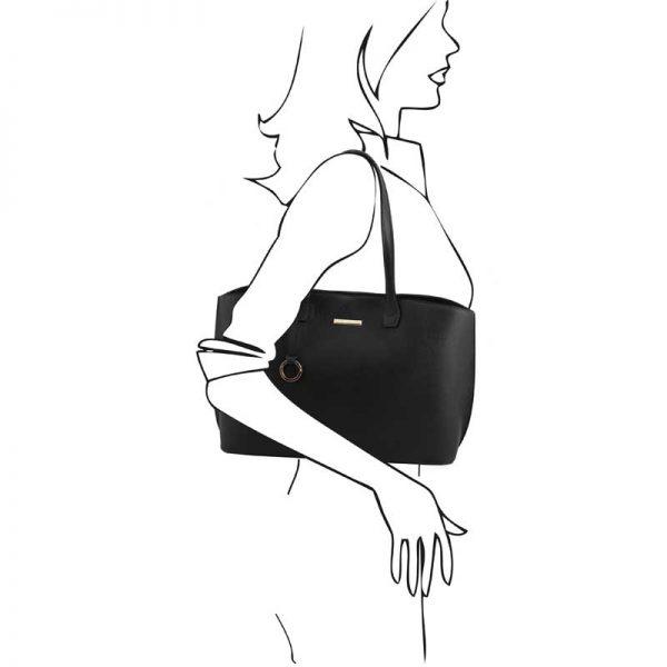 Leren damestas TL bag in zwart bij Italiaansetassen.nl