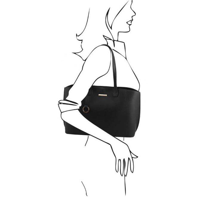 leren damestas tl bag 28 zwart schoudertas