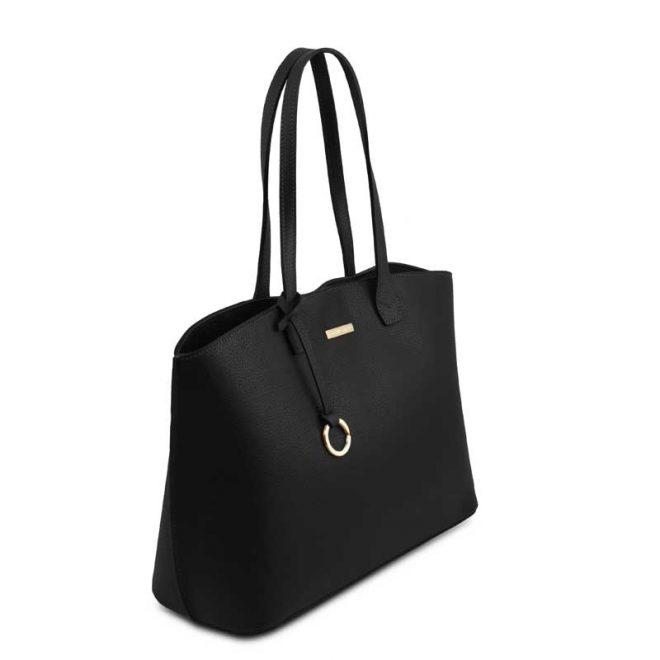 leren damestas tl bag 28 zwart zijkant