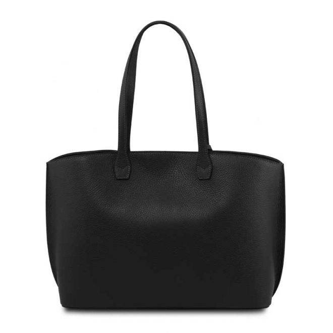 leren damestas tl bag 28 zwart achterkant