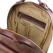 leren rugzak Kyoto bruin vak met rits aan de binnenkant