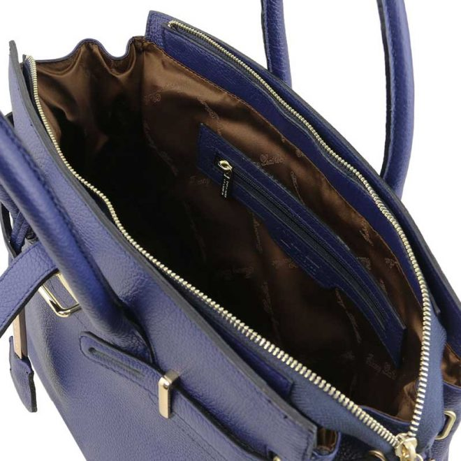 leren damestas tl bag 29 blauw binnenkant