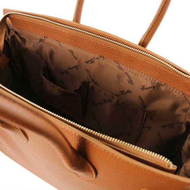 leren damestas tl bag 29 cognac binnenkant