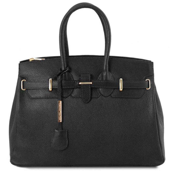 leren damestas tl bag 29 zwart voorkant