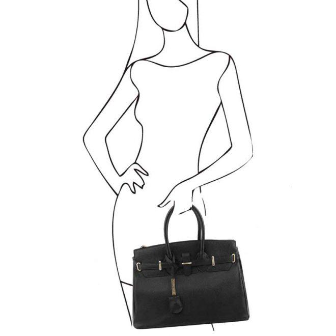 leren damestas tl bag 29 zwart handvatten