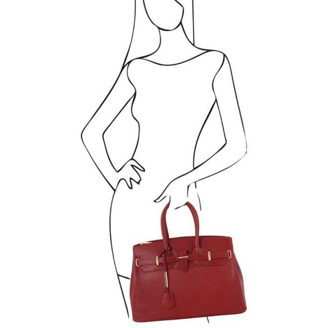 leren damestas tl bag 29 rood handvatten