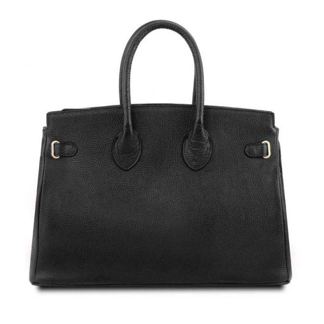 leren damestas tl bag 29 zwart achterkant