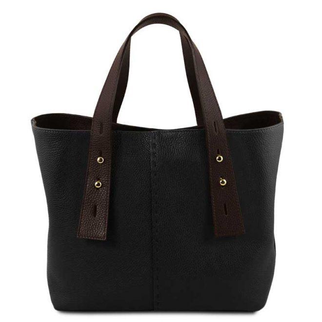 leren damestas tl bag 30 zwart voorkant uitgevouwen