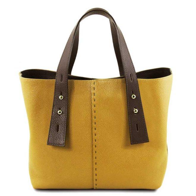 leren damestas tl bag 30 geel voorkant uitgevouwen
