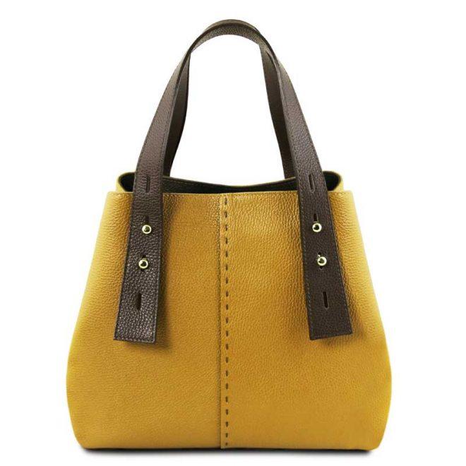 leren damestas tl bag 30 geel voorkant