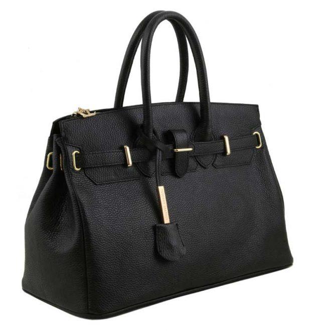 leren damestas tl bag 29 zwart zijkant
