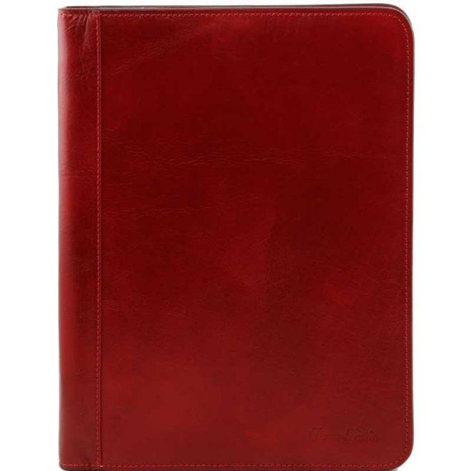 a4 leren schrijfmap Lucio rood voorkant