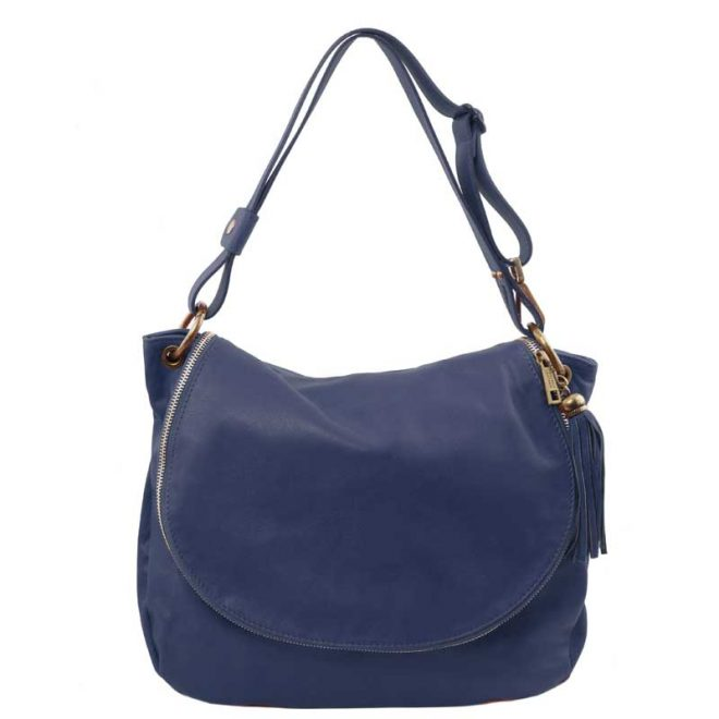 Leren-damestas-TL-bag-10-blauw-voorkant