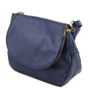 Leren-damestas-TL-bag-10-blauw-zijkant
